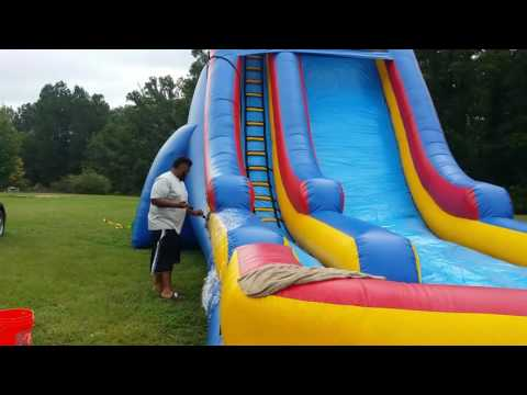 How to clean up and roll up a water slide 41 long 24 high and 24 wide HD