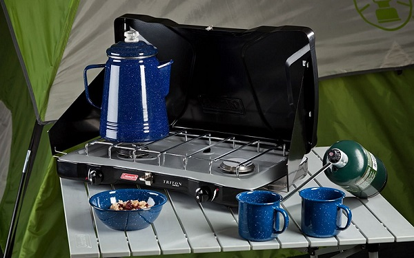 Hook up coleman stove large propane tank