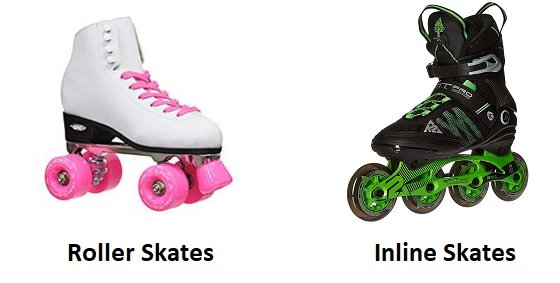 Difference between roller skates and inline skates