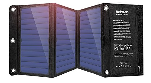 Nekteck 20W Solar Charger with 2-Port USB Charger