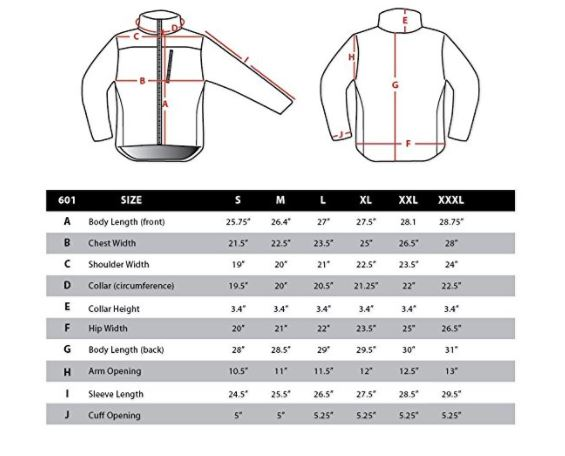 condor tactical fleece sizing chart