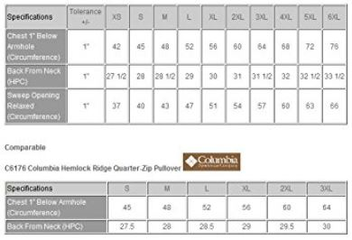 best fleece colorado timberline sizing chart