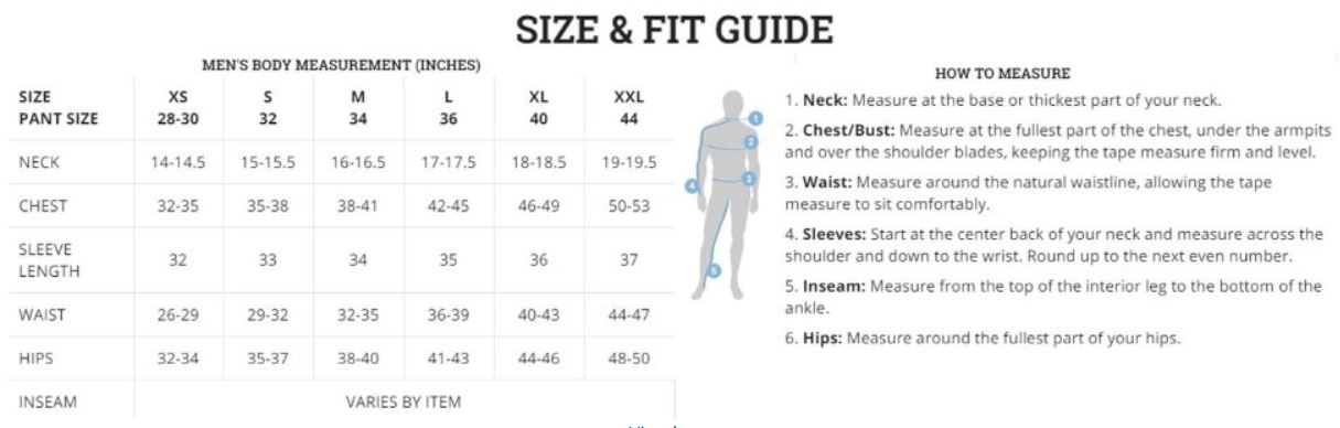 columbia fleece sizing chart