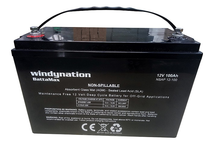WindyNation BattaMax AGM SLA Deep Cycle VRLA Battery
