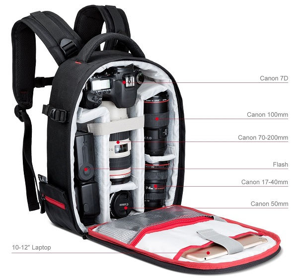 camera backpack compartments