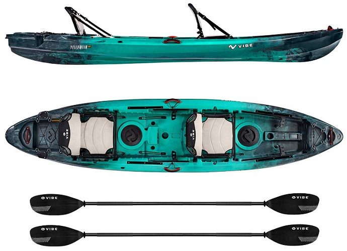 Vibe Kayaks Yellowfin 130T Tandem Two Person Sit On Top Kayak
