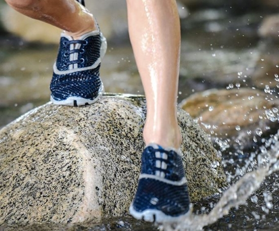 water shoes on rocks