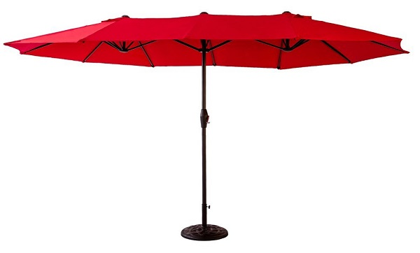 FLAME&SHADE Double Sided Outdoor Market Patio Umbrella