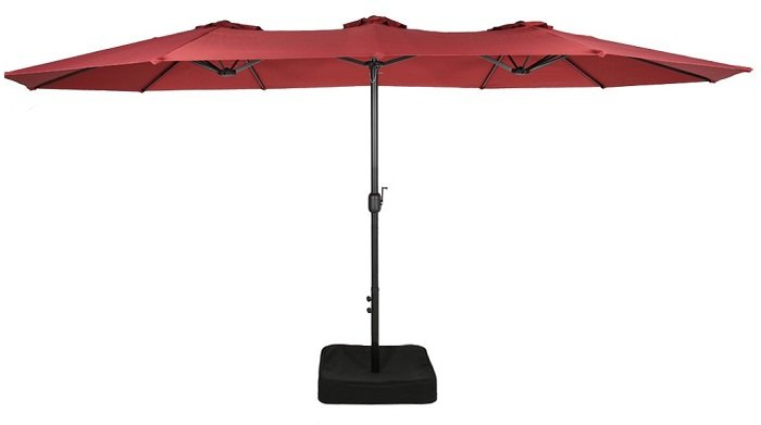Iwicker Double-Sided Outdoor Patio Market Umbrella