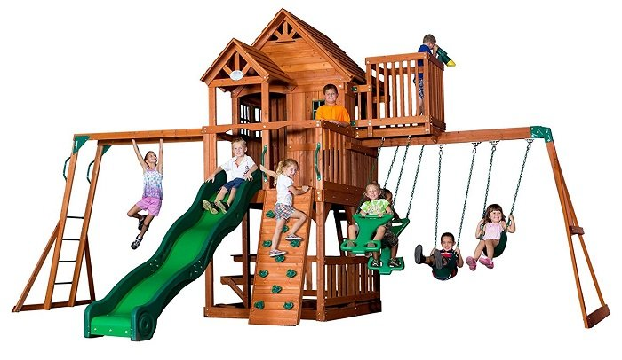 Backyard Discovery Skyfort II Play House Swing Set
