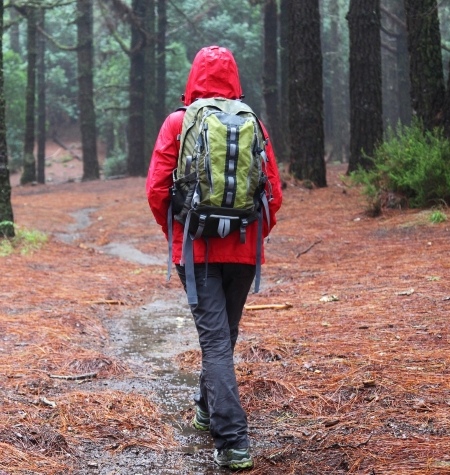 hiking with waterproof backpack