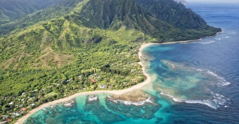 kauai napali coast aerial view from helicopter