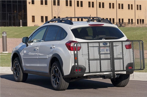 hitch style cargo carrier on car