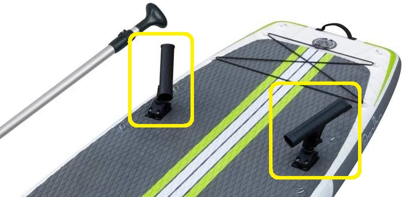 rod holders on fishing paddle board