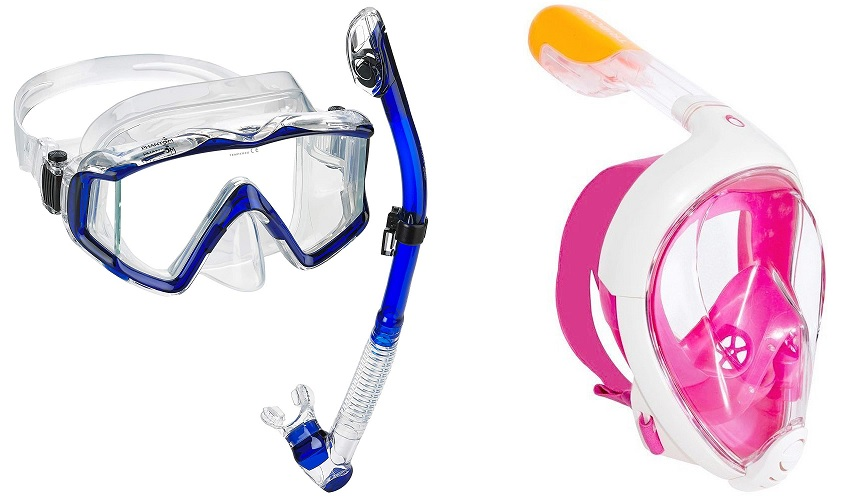 dry snorkel mask vs full face snorkel mask
