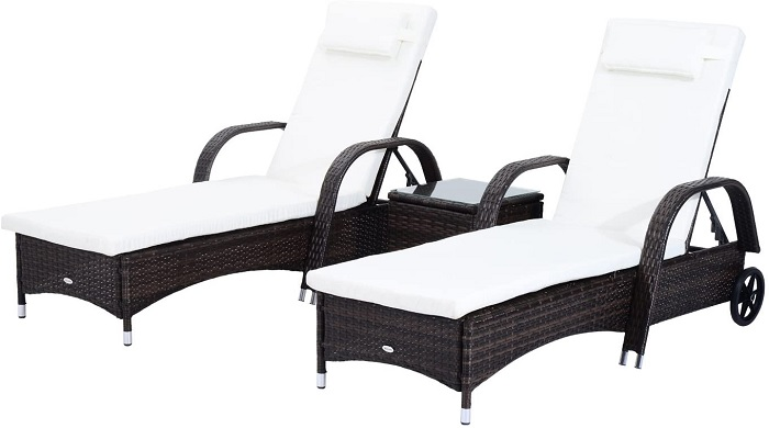 Outsunny 3 Piece Rattan Wicker Adjustable Chaise Lounge Chair
